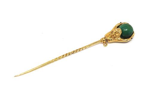 A Rare Antique Georgian 18ct Gold Malachite World on Altlas' Shoulders Stickpin