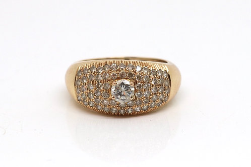 A Fine Vintage 18ct 750 Yellow Gold 0.62ct Diamond Bombay Cluster Ring #17187