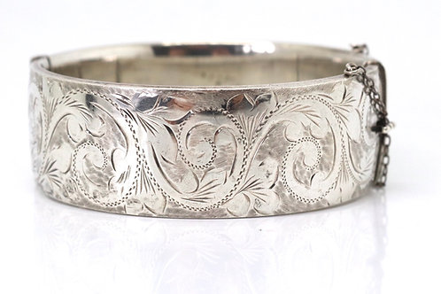 A Heavy Vintage C1965 Sterling Silver 925 Engraved Bangle Bracelet 58g #23089