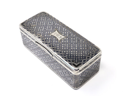 A Superb Quality Heavy Antique Russian 19th C1865 Solid Silver Niello Snuff Box