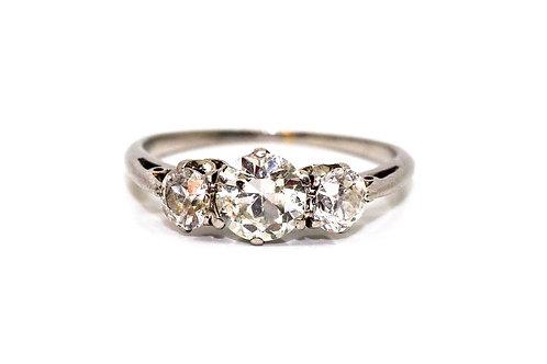 A Lovely Antique Art Deco Platinum 950 Three Stone 1.06TCW Diamond Ring