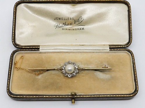 A Fine Antique Victorian 15ct Gold Pearl & Diamond Cluster Bar Brooch & Box