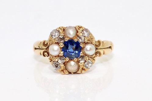 A Crisp Antique Edwardian 18ct 750 Gold Sapphire Diamond & Cultured Pearl Cluste