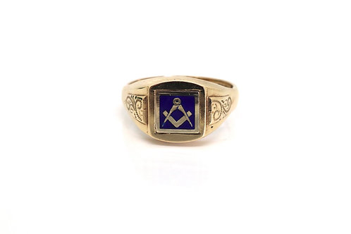 A Superb Heavy Vintage C1979 9ct 375 Yellow Gold Enamelled Masonic Swivel Ring