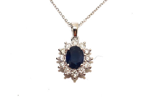 A Gorgeous Modern 18ct 750 White Gold Sapphire & Diamond Cluster Pendant & Chain