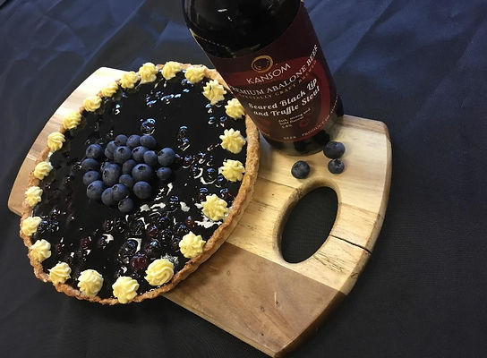 Afternoon Tart with Chocolate Ganache Blueberry Abalone Jellied Stout and Black Tea Creamg