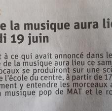Annonce fête de la zic Le Dauphiné du 19.06.2021