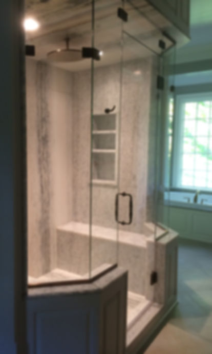 Installation, Repair, & Restore Glass Shower Doors. Beautiful Large Steam Shower Enclosure. Large Rain Head. Oil-Rubbed Bronze.