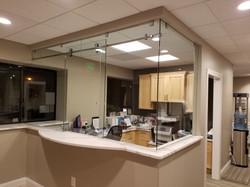 Lobby Desk Sliding Glass Door