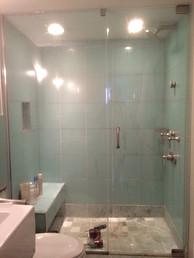 Large Frameless Glass Steam Unit w Pivot Hinges - Noble Shower Doors