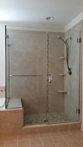 Corner Glass Shower Enclosure w Towel Bar - Noble Shower Doors