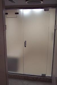 Frameless Frosted Glass Steam Shower Enclosure w Operable Transom - Noble Shower Doors