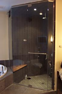 Large Tinted Glass Frameless Steam Shower Enclosure - Noble Shower Doors