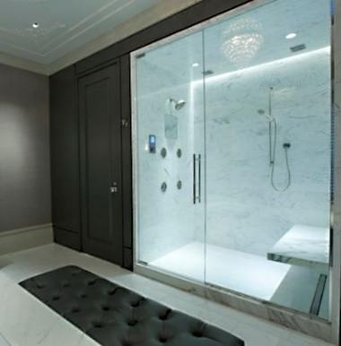 Amazing Bathroom w Frameless Glass Steam Enclosure