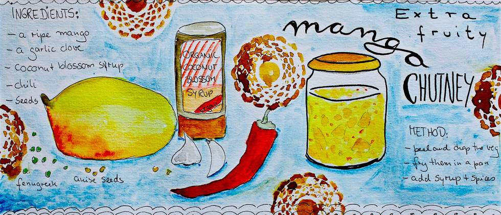 Mango Chutney sketch for recipe card