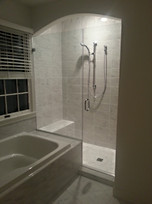 Frameless Door & Panel Glass Shower Enclosure w Archway - Noble Shower Doors