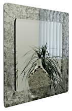Square Antiqued Framed Double Mirror