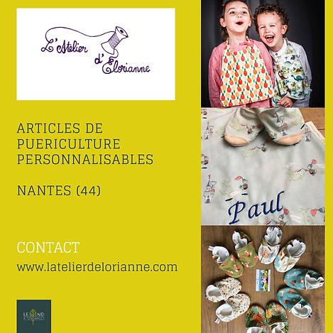 l'atelier d'elorianne. création d'articles de puériculture personnalisables, fait à la main, à Nantes.
