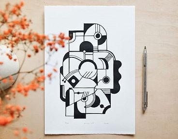 illustration animal geometrique-linograv