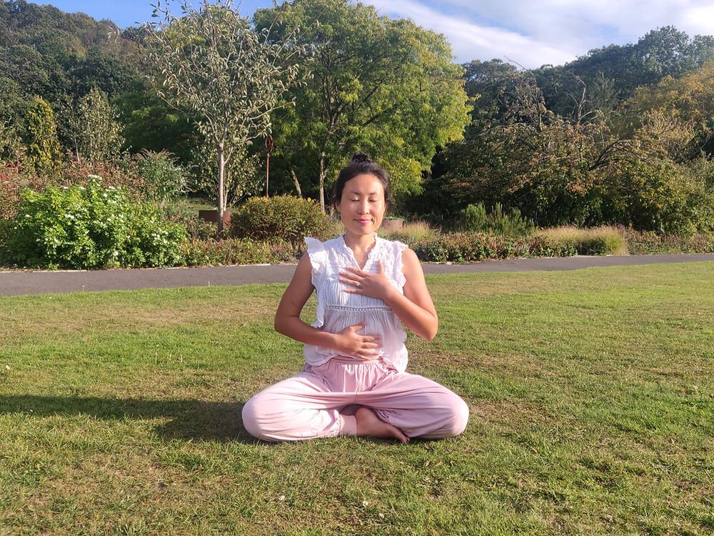 Yoga with Ling; Ling practicing pranayama, three-part breath