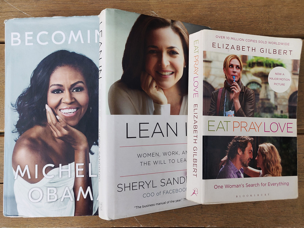 Three books accompanied me through ectopic pregnancy; book covers of Becoming by Michelle Obama, Lean in by Sheryl Sandbert and Eat Pray Love by Elizabeth Gilbert