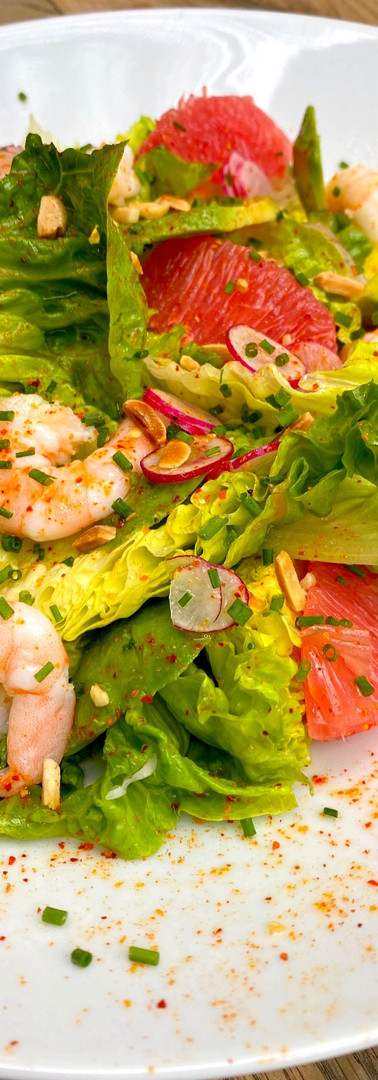 Salade de sucrine aux crevettes roses et