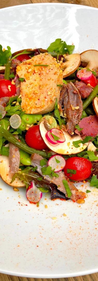 Salade de haricots verts aux champignons