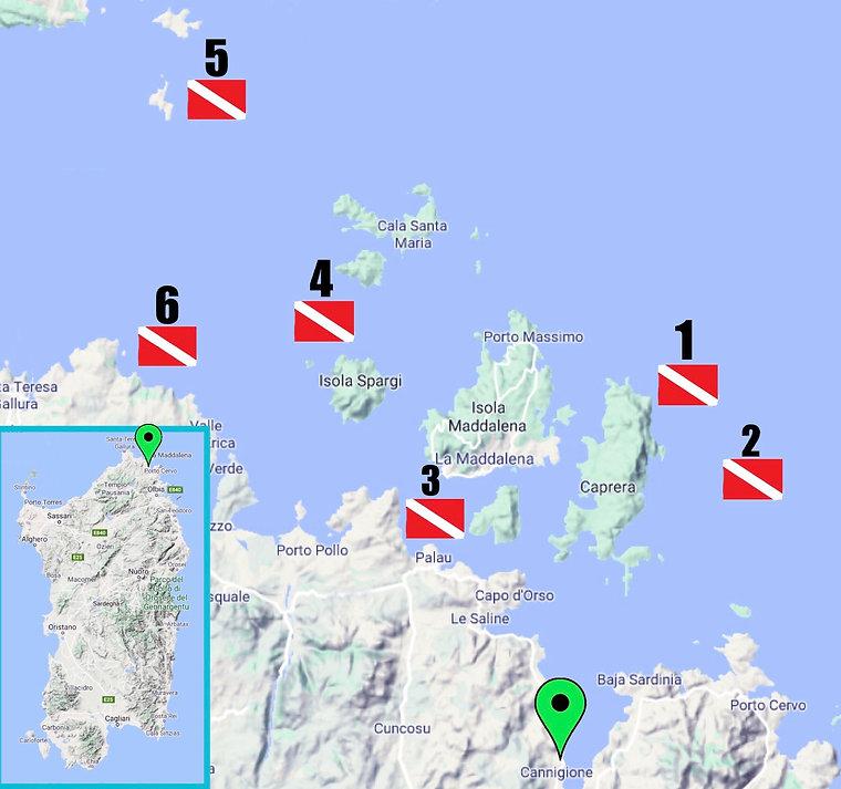 Carte Sites de Plongées Sardaigne Archipel de la Maddalena