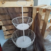Cream 2-Tiered Baskets-$3 (QTY 3)