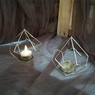 Gold Geo Candle Holders-$2 ea (Qty-4)