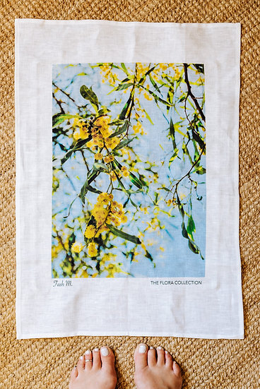 Spring Wattle 100% Linen Souvenir Tea Towel