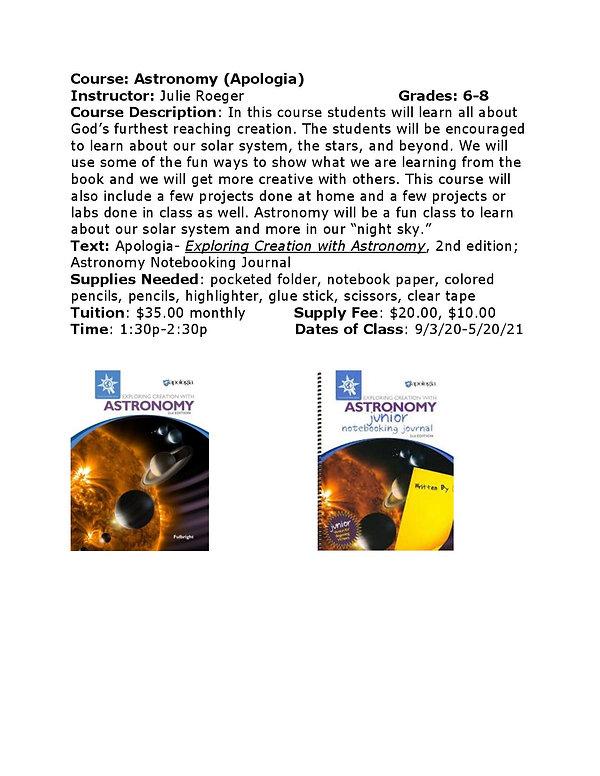 Julie Roeger Astronomy Course Descriptio
