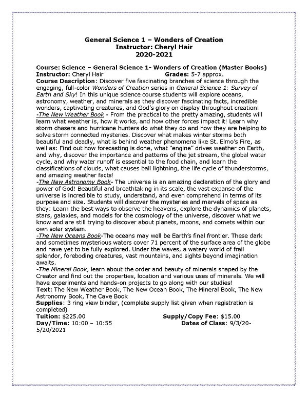 Cheryl General Science 1 Course Descript