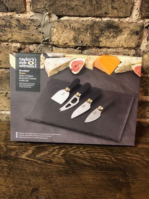 Brooklyn Slate Cheese Board and Knife Set