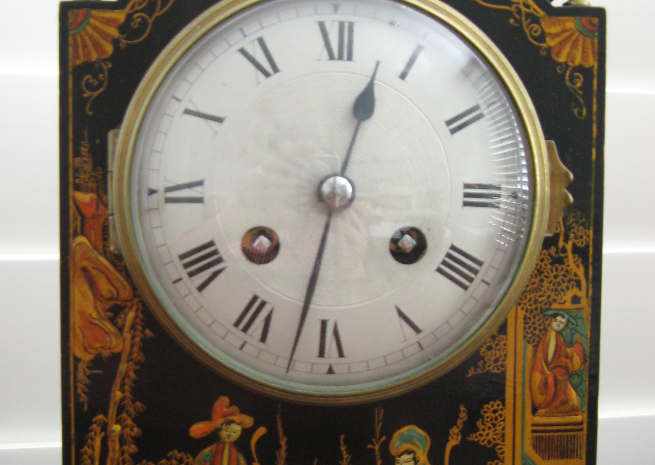 Black Chinoiserie Mantle Clock