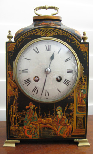 Black Chinoiserie Mantle Clock