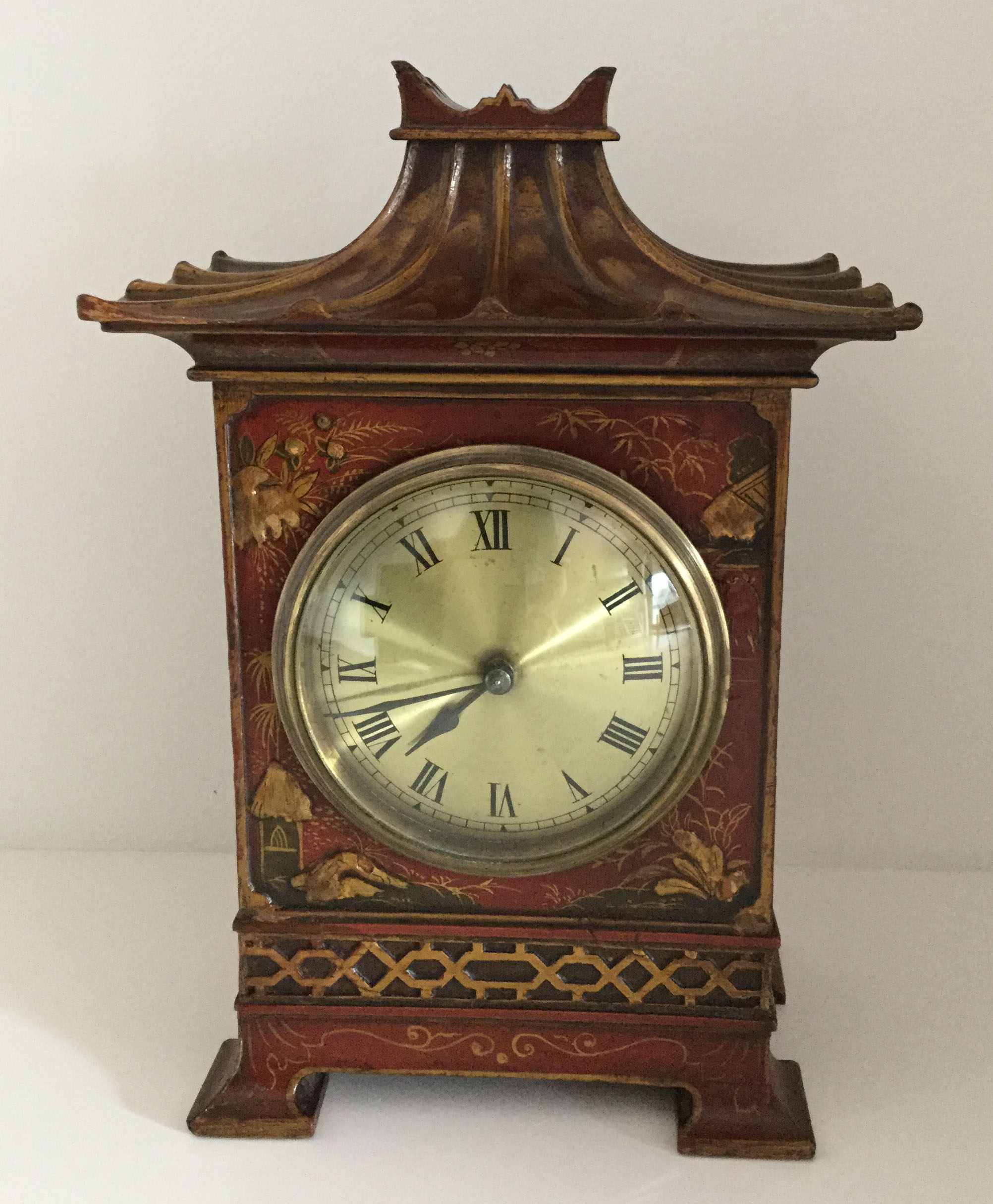 Red Chinoiserie Pagoda Clock