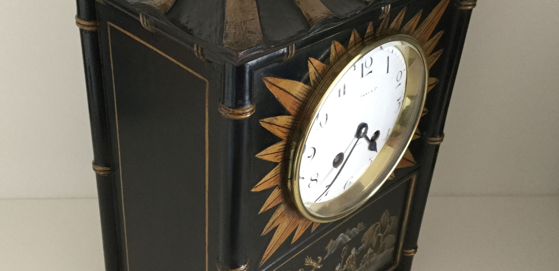 Tiffany Black Chinoiserie Clock