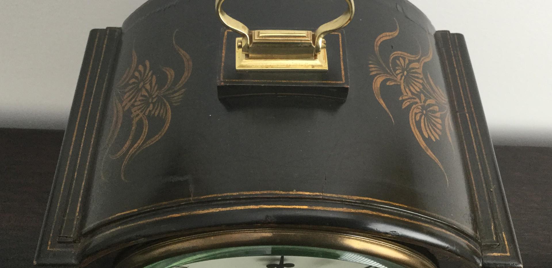 Black Chinoiserie Fusee Clock