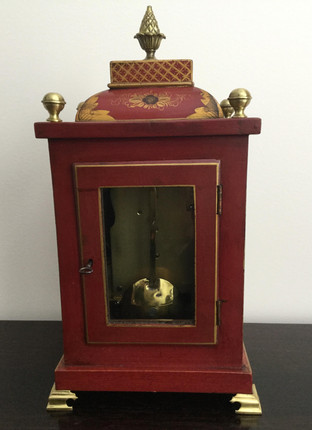 Red Chinoiserie Fusee Clock, Verso