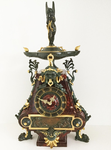 Gilt Bronze and Rouge Marble Clock