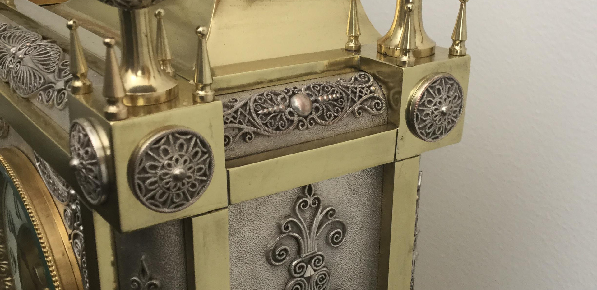 French Gothic Style Silver and Brass Clock