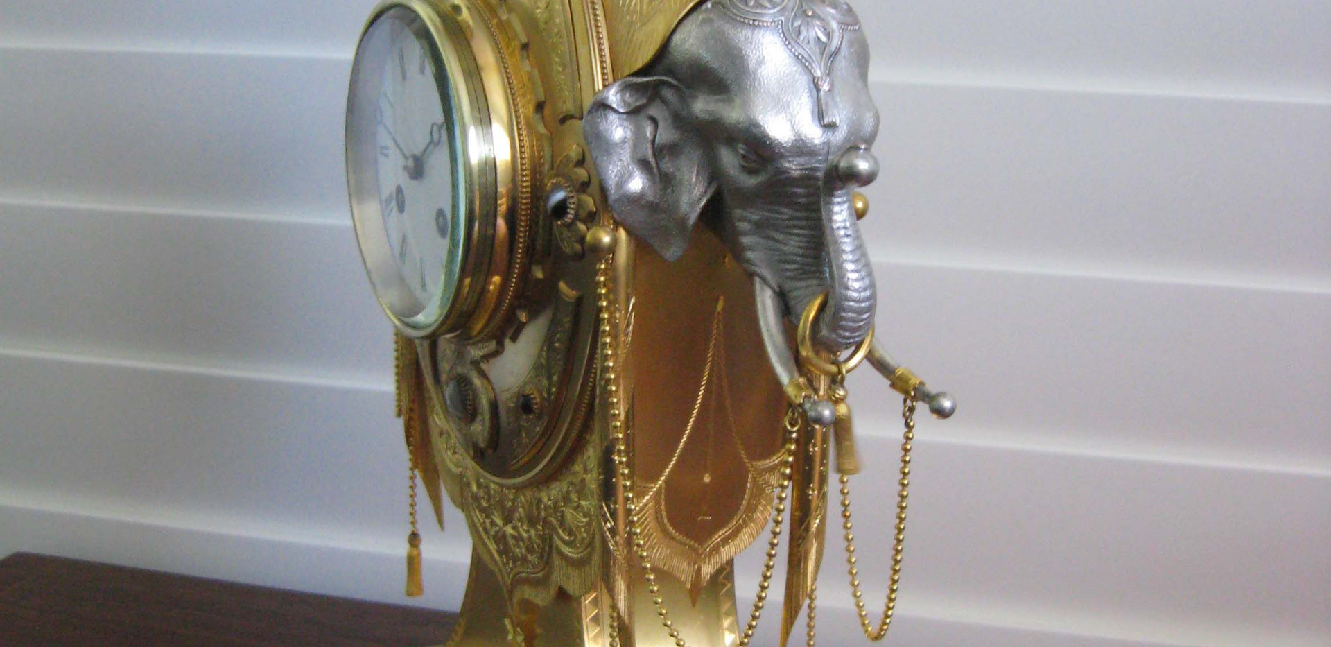 Gilt Bronze and Silver Elephant Clock