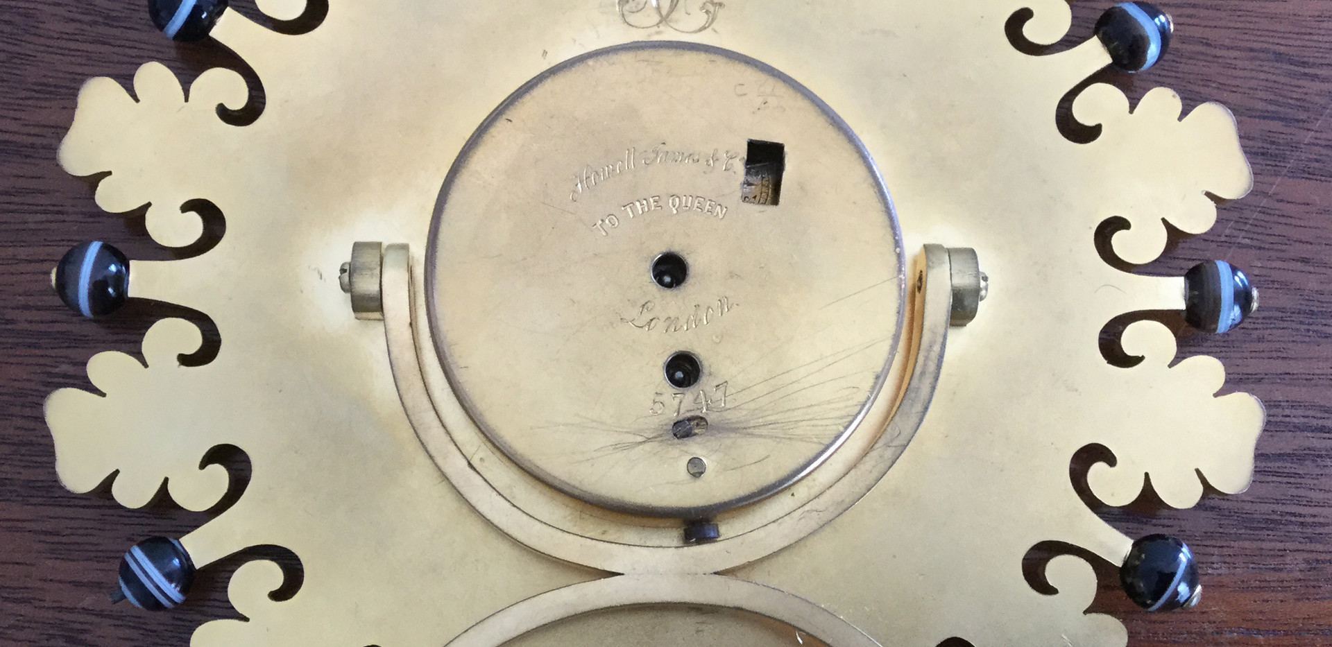 Howell James Gilt Bronze Strut Clock, Verso