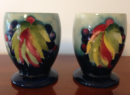 Pair Leaf and Berry Mooorcroft Goblets