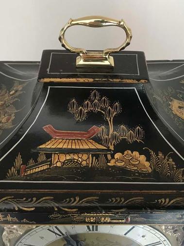 Lenzkirch Black Chinoiserie Musical Clock