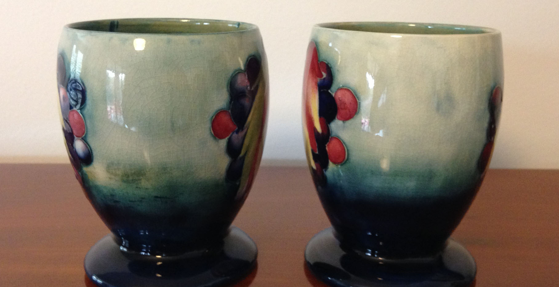 Pair William Moorcroft Goblets