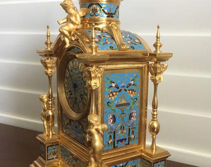 Champleve Enamel Clock Garniture