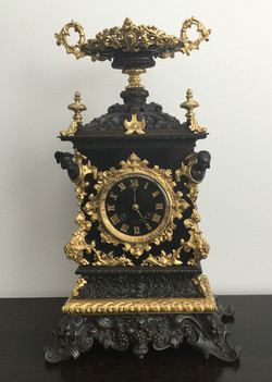 French Bronze and Slate Mantel Clock