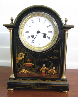Black Chinoiserie Arch Cased Clock